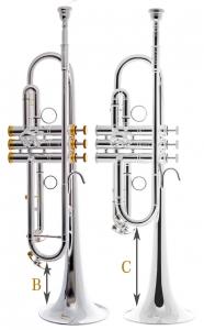 Vergleich B- und C-Trompete Périnet. Hier Beck Masterpiece-Trompeten
