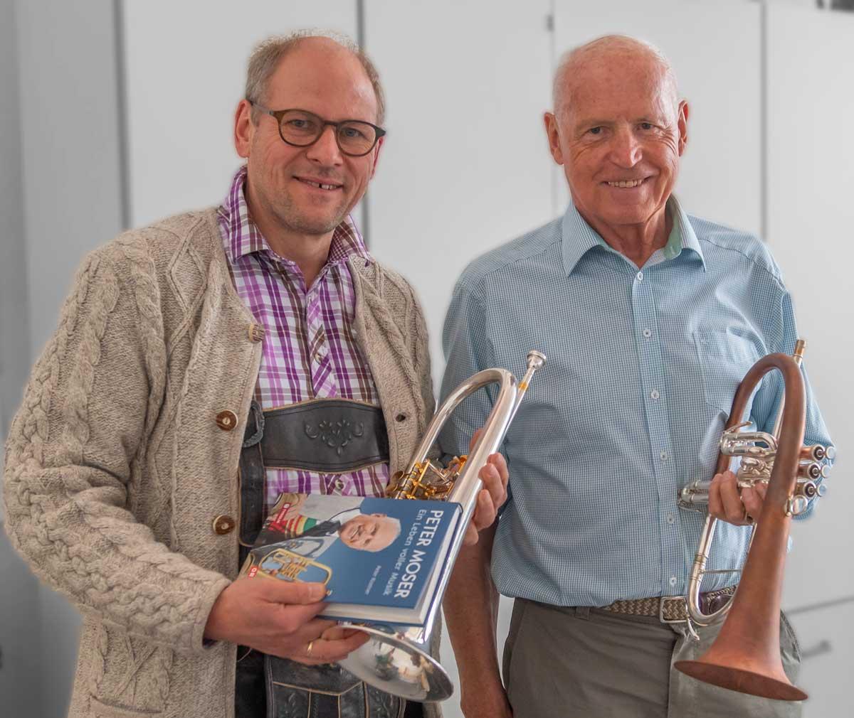 Peter Moser mit Matthias Beck beim Seminar Weisenblasen
