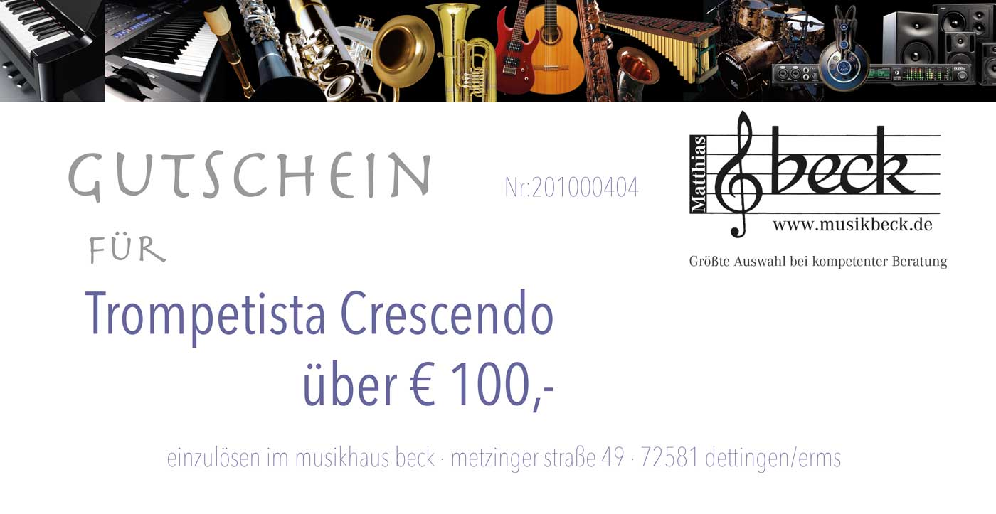 Verschenke Freude an Musiker Gutschein im Musikhaus Beck